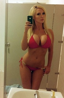 Cute blonde showing her natural beautiful big boobs in nice bikini and hot body