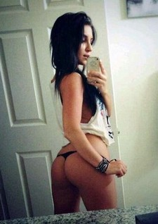Handsome brunette selfshot her great big hot ass in provocative thong