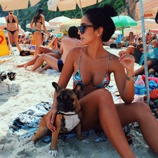 Sweet teen with real sweet breasts and hot booty in bikini enjoy on beach with her cute..