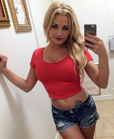Cute blonde teen bimbo amateur selfshot her pretty sweet face big beautiful real tits..