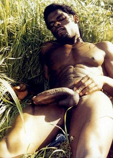 African black guy big cock solo vintage session in the field