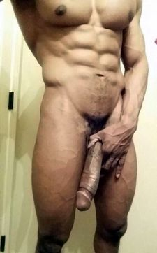 Sexy selfie with muscled guy with huge dick