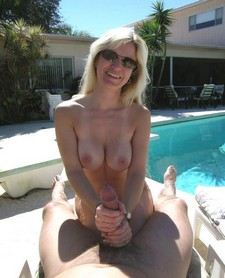 Amazing novice playing with self pic with beautiful blonde mature.