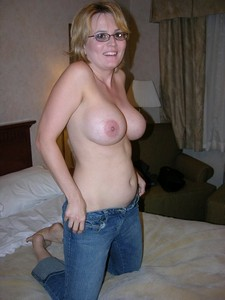 Beautiful middle-aged busty wifey preparing for wild group sex with her husband and his..