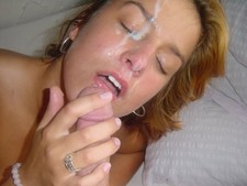 Cumming on my wife's beautiful face