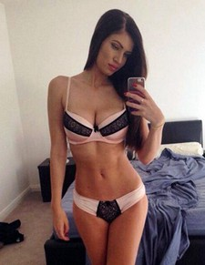 Amateur selfshot of big sexy brunette boobs and young body
