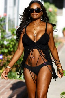 Handsome ebony in sexy bikini on her big real boobs and great booty