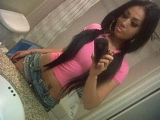 Hot latina girl selfshot in sexy jeans shorts