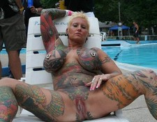 Tattoed old woman huge big boobs