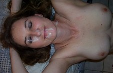 Nice facial cumshot on wifey's face - amateur porn photos